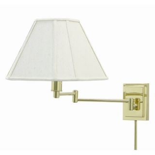 Arm Wall Lamp in Polished Brass with Cloth Shade and Finial   WS16 61