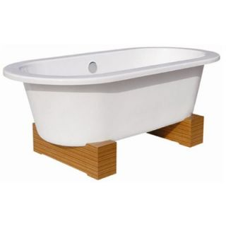 Belle Foret 68 Contemporary Cast Iron Soaking Tub with Wood Block