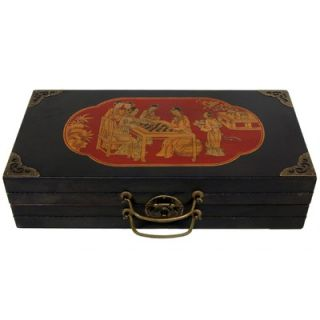 Oriental Furniture Chess Set Box in Black Lacquer   LQ CHESS