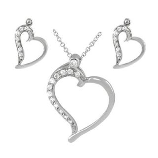 Sterling Silver CZ Lined Heart Necklace and Earring Set   SET 105