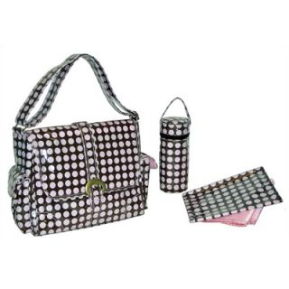 Kalencom Heavenly Polka Dots Laminated Buckle Diaper Bag in Baby Pink