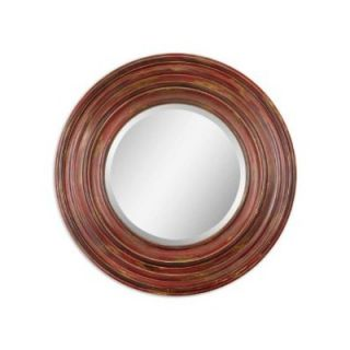 Uttermost Elsmere Round Beveled Mirror in Aged Red
