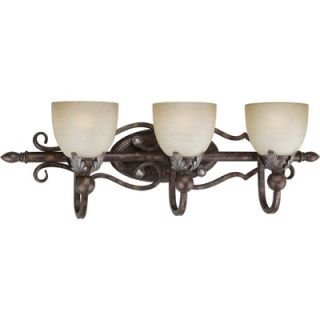 Forte Lighting Three Light Vanity Light with Umber Mist Shade in
