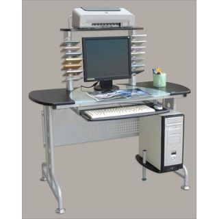 Half Glass Top Computer Desk with 4 Levels and CD Holders   G 124