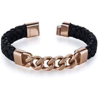 Oravo Mens Black Woven Leather Rose Gold Plated Steel Bracelet