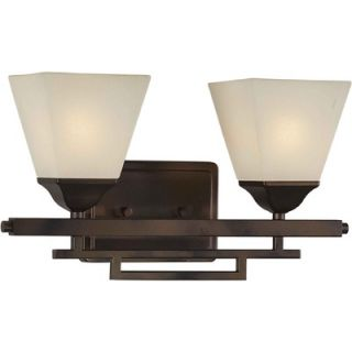 Forte Lighting Two Light Vanity with Umber Shade in Antique Bronze