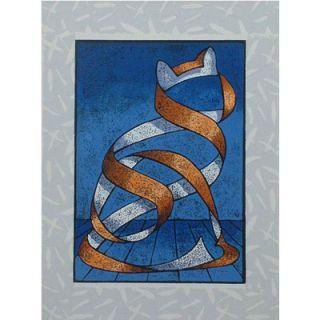 Novica Seated Cat Wall Art in Blue