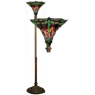 Warehouse of Tiffany Dragonfly Red / Purple Torchiere Lamp   1509