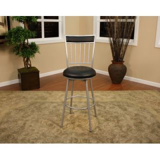 American Heritage Alliance Stool in Silver with Black Vinyl   747SI
