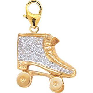 EZ Charms 14K Yellow Gold Diamond Roller Skate Charm
