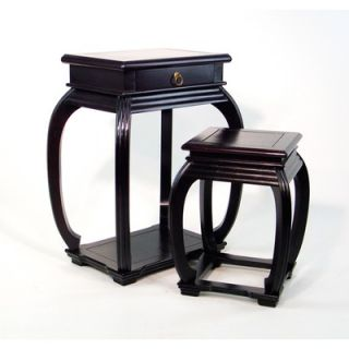 Oriental Furniture Asian Design 2 Piece Nesting Tables   WB 5453AB