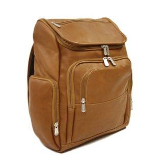 Piel Entrepreneur Multi Pocket Laptop Backpack in Saddle   2834 SDL