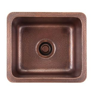 Thompson Traders Como Square Hand Hammered Solid Copper Prep Sink