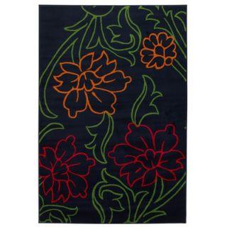 Chandra Rugs Dersh Black Floral Rug   DER 22405
