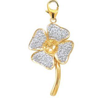 EZ Charms 14K Yellow Gold Diamond 4 Leaf Clover Charm