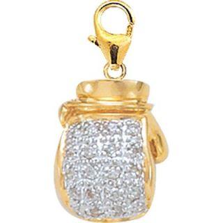 EZ Charms 14K 1.25 Grams Yellow Gold Diamond Boxing Glove Charm
