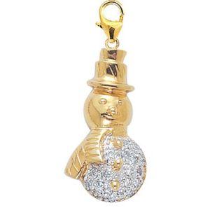EZ Charms 14K Yellow Gold Diamond Snowman Charm