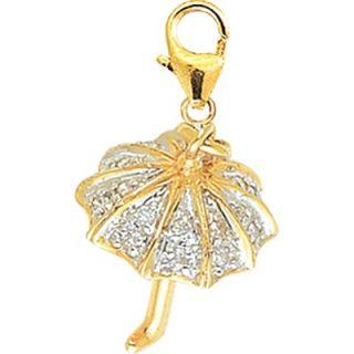EZ Charms 14K Yellow Gold Diamond Umbrella Charm