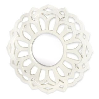 Majestic Mirror Contemporary Beveled Mirror in White Lacquer   1992