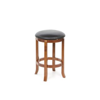 Winsome 24 Faux Leather Swivel Stool in Antique Walnut (Set of 2