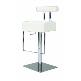 Chintaly Adjustable Upholstered Swivel Stool in White   0812 AS WHT