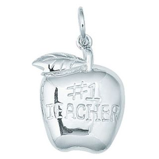 EZ Charms Sterling Silver #1 Teacher Apple Charm   SCHA0391