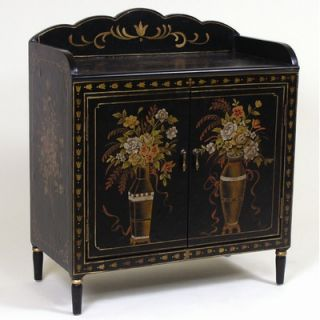 AA Importing Two Door Cabinet with Floral Design in Black