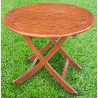 International Caravan Acacia Patio 38 Round Folding Dining Table