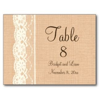 Ivory Lace & Light Burlap Table Number Post Cards