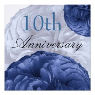 10th Anniversary Navy Blue and White Roses Linen Custom Invitation