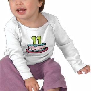 11 Year Old Birthday Cake Tshirt