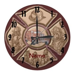Firefighter Maltese Cross Round Wall Clocks