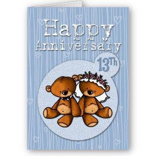 happy anniversary bears   13 year greeting card