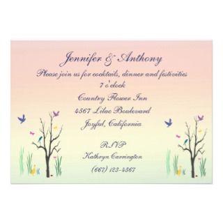 Springtime Wedding Reception Custom Invitations