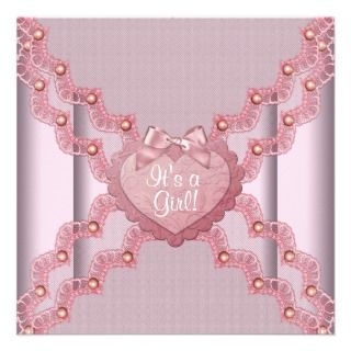 Pink Lace Pink Pearl Heart Pink Baby Girl Shower Announcement