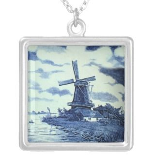 Vintage Antique Delft Blue Tile   Windmill Custom Necklace