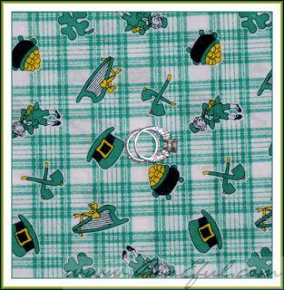 BOOAK Fabric Irish Green White Gold Plaid Check St Patricks Day Hat