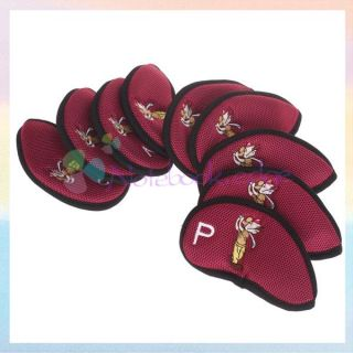 9pcs Neoprene Golf Club Iron Putter Head Cover Set Protection Case
