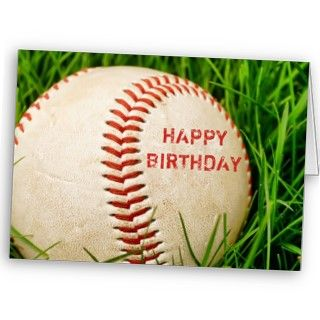 baseball in the tall summer grass with the words Happy Birthday
