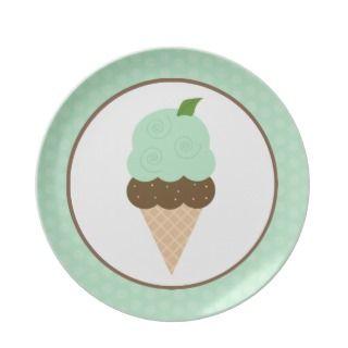 Mint Ice Cream Cone Plate