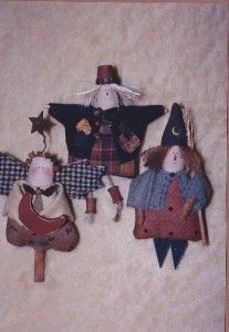 Pattern Primitive Witch Scarecrow Autumn Angel Tiny 5 Pins or Ornies