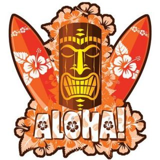 Hawaiian Orange Tiki Sticker Decal from Hawaii