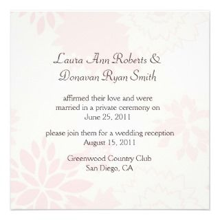 25x5.25 Abstract Pink Gray Flowers Post Wedding Personalized Invite