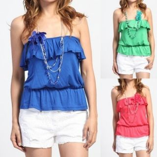 Floral Necklace Ruffled Tube Top Hawaiian Jersey Tank Shirts