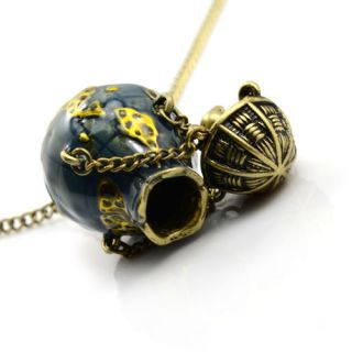 Earth Hot Air Balloon Pendant Necklace Fashion Jewelry Woman Necklaces