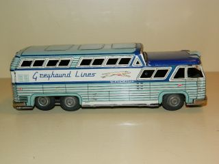 Tin Friction Power Toy Greyhound Bus
