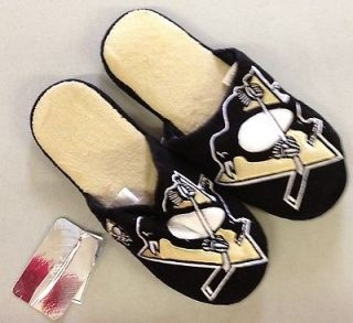 Pair Pittsburgh Penguins Big Logo Slippers 2011 NEW NHL   TWO TONED