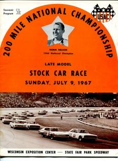 USAC Stock Car Race Program July 9 1967 Wisconsin State Fair Park