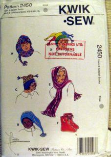 Kwik Sew sewing pattern FLEECE WINTER SKI HATS SCARF SLIPPER SOCKS