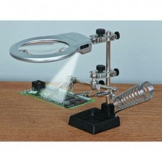 Large 3rd Helping Hand Magnifier w LED Light Electronics Solder Craft
